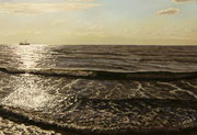 Fischkutter in Abendsonne, Pastel on Pastelmat, 40x60cm, 2012, Private Collection