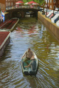 Two Gents in a Boat, Pastel on Pastelcard, 2011, Private Collection