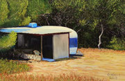 Trailer by the Sea, Pastel on Pastelmat, 40x60cm, 2013