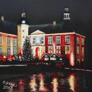Weihnachten auf Schloss Gödens, Pastel on Pastelmat, 40x40cm, 2013