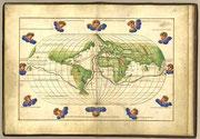 マゼランの航跡を描いた地図。バッティスタ・アンニェーゼ作、1544年
