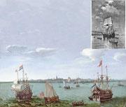 オランダ東インド会社の船。右上は英国人探検家ハドソンに提供した《ハーフムーン》