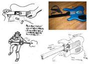「新宿鮫」ギター銃デザイン画(右上の画像は、映画の撮影で使われた小道具です。)