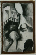 falling angel  -  charcoal on book cover  -  12x20 cm  -  1996