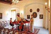 Probe vor dem Konzert, Barocke Klänge auf Schloss Heynitz, August 2015