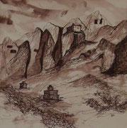 Felsenkloster Lori Gompa, 40x40cm m.P., Tusche auf Papier