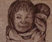Geschwister, 40x50cm m.P., Tusche auf Papier