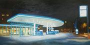 Sonntagskrimi, 2018, 50x100 cm, Öl/Leinwand