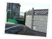 """clôture 4 plaques """"moellon"""" surmontée plaque ajourée"""