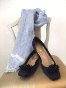 サマースエードウェッジパンプス×薄ブルーリネンで大人の品を演出shoes¥26,250stoll¥18,900