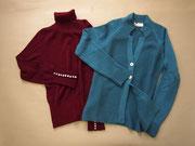 シルクウールのニットはとろけるほど柔らか。今季の色で定番アイテムも新しい表情。jacket¥58,800、knitpull-over¥45,150/イタリア