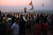 Hare Krishnas on the beach moving the crowd