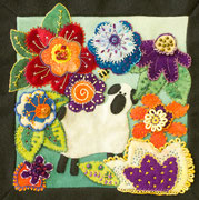 """Millie in the Meadow"", Wool applique pillow available as kit with pattern"