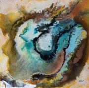 Ultra-Schall, Resin und Farbe auf Keilrahmen, 60x60 cm