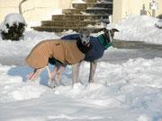 Luca (in Camel) & Jamey (in Dunkelblau)