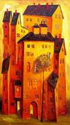 Großes Haus in Gelb-Braun, 140 x 80 cm, Öl auf Leinwand