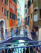 Touristen in Venedig, 70 x 65 cm, Acryl auf Leinwand