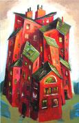 Häuser in Rot ( grüne Dächer ), 110 x 79 cm, Öl auf Leinwand