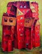 Großes Haus in Rot, 120 x 100 cm, Öl auf Leinwand