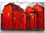 Häuser in Rot. Hochwasser, 80 x 100 cm, Acryl auf Leinwand
