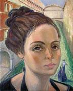 Venezianerin, 75 x 60 cm, Acryl, Öl auf Leinwand