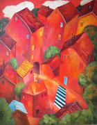 Rote Häuser mit Zebrastreifen, 140 x 110 cm, Öl auf Leinwand