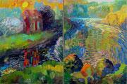 Landschaft mit Löwe, Diptychon je 100 x 75 cm, Öl auf Leinwand