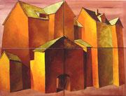 Goldene Dächer, 120 x 160 cm, Acryl, Blattgold auf Leinwand