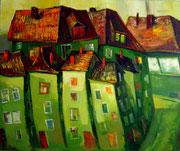 Grüner Abend, 100 x 120 cm, Öl auf Leinwand