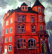 Haus in Rot, 105 x 100 cm, Acryl auf Leinwand