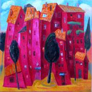 Häuser in Magenta, 100 x 100 cm, Öl auf Leinwand