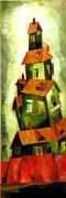 Häuserturm in Grün, 120 x 40 cm, Öl auf Leinwand