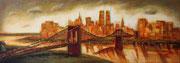 Brooklyn Bridge, Dämmerung,( 10.09.2001 ), Acryl, Mischtechnik auf Leinwand