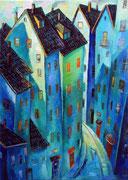 Häuserschlucht in Blau, 140 x 110 cm, Öl auf Leinwand