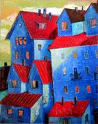 Rote Dächer, 100 x 80 cm, Öl auf Leinwand