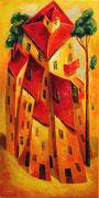 Haus und zwei Kiefern, 100 x 50 cm, Öl auf Leinwand