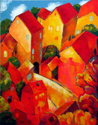 Häuser im Herbst, 140 x 110 cm, Acryl auf Leinwand