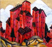 Rote Häuser auf der Gebirgslandschaft, 100 x 110 cm, Öl auf Leinwand