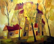 Häuser im Herbst, 50 x 60 cm, Öl auf Leinwand