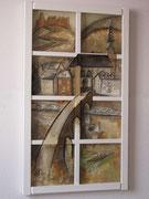 Heidelberger Ausblick, 116 x 66 cm, Acryl auf Leinwand, Assemblage