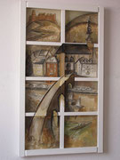 Heidelberger Ausblick, 116 x 66 cm, Acryl auf Leinwand, Assemblage, /verkauft /