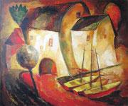 Drei Boote, 100 x 120 cm, Acryl auf Leinwand