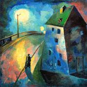 Haus an der Brücke, 110 x 110 cm, Öl auf Leinwand