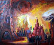 Moskau-Paris, Mittagssonne. 100 x 120 cm, Acryl auf Leinwand