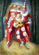 Clowns mit Gitarre, 70 x 50 cm, Öl auf Leinwand
