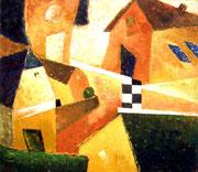 Komposition mit Häusern und Schachbrettmuster, 70 x 80 cm, Acryl Auf Leinwand