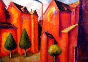Feuer-Rot, 110 x 130 cm, Öl auf Leinwand, / verkauft /
