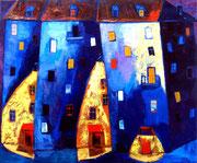 Blaue Nacht, 100 x 120 cm, Acryl auf Leinwand