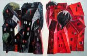 Schwarz-Rot, 90 x 140 cm, Öl auf Leinwand