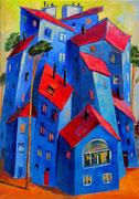 Häuser in Blau, 100 x 70 cm, Öl auf Leinwand